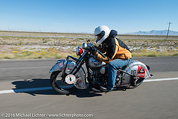 Mark Hill riding his 1936 Indian Four during stage 12 (299 m) of the Motorcycle Cannonball Cross-Country Endurance Run, which on this day ran from Springville, UT to Elko, NV, USA. Wednesday, September 17, 2014.  Photography ©2014 Michael Lichter.
