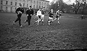 Irish Rugby Football Union, Ireland v Wales, Five Nations, Welsh team practice at J.C.P, Dublin, Ireland, Friday 16th November, 1962,.16.11.1962, 11.16.1962, ..Welsh Team, ..G T R Hodgson, Wearing number 15 Welsh jersey, Full Back, Neath Rugby Football Club, Neath, Wales,..D Debb, Wearing number 11 Welsh jersey, Left Wing, Swansea Rugby Football Club, Swansea, Wales, ..D B Davies, Wearing number 12 Welsh jersey, Left centre, Llanelly Rugby Football Club, Llanelly, Wales, ..D K Jones, Wearing number 13 Welsh jersey, Right centre, Llanelly Rugby Football Club, Llanelly, Wales, ..D R R Morgan, Wearing number 14 Welsh jersey, Right wing, Llanelly Rugby Football Club, Llanelly, Wales, ..C Ashton, Wearing number 10 Welsh jersey, Stand Off, Aberavon Rugby Football Club, Port Talbot, Wales, ..A O'Connor, Wearing number 9 Welsh jersey, Scrum Half, Aberavon Rugby Football Club, Port Talbot, Wales, ..L J Cunningham, Wearing number 1 Welsh jersey, Forward, Aberavon Rugby Football Club, Port Talbot, Wales, ..B V Meredith, Wearing number 2 Welsh jersey, Captain of the Welsh team, Forward, Newport Rugby Football Club, Newport, Wales, ..J Warlow, Wearing number 3 Welsh jersey, Forward, Llanelly Rugby Football Club, Llanelly, Wales, ..W R Evans, Wearing number 4 Welsh jersey, Forward, Bridgend Rugby Football Club, Bridgend, South Wales,..K A Rowlands, Wearing number 5 Welsh jersey, Forward, Cardiff Rugby Football Club, Cardiff, Wales,..D J Davies, Wearing number 6 Welsh jersey, Forward, Neath Rugby Football Club, Neath, Wales,..A Pask, Wearing number 8 Welsh jersey, Forward, Abertillery Rugby Football Club, Gwent, South Wales,..H J Morgan, Wearing number 7 Welsh jersey, Forward, Abertillery Rugby Football Club, Gwent, South Wales,.