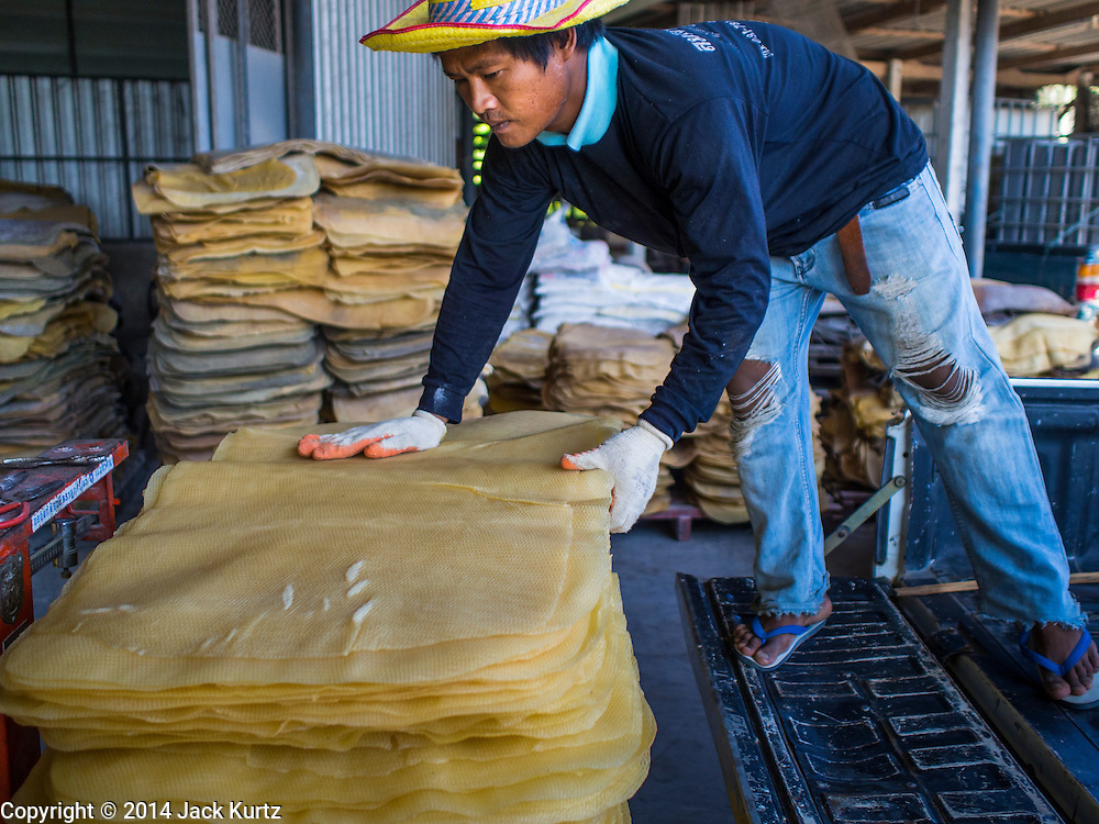 """15 DECEMBER 2014 - CHUM SAENG, RAYONG, THAILAND: A farmer unloads rubber sheets from his truck at a rubber buying station in Chum Saeng, Thailand. Thailand is the second leading rubber exporter in the world. In the last two years, the price paid to rubber farmers has plunged from approximately 190 Baht per kilo (about $6.10 US) to 45 Baht per kilo (about $1.20 US). It costs about 65 Baht per kilo to produce rubber ($2.05 US). Prices have plunged 5 percent since September, when rubber was about 52Baht per kilo. Some rubber farmers have taken jobs in the construction trade or in Bangkok to provide for their families during the slump. The Thai government recently announced a """"Rubber Fund"""" to assist small farm owners but said prices won't rebound until production is cut and world demand for rubber picks up.     PHOTO BY JACK KURTZ"""