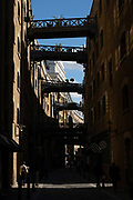 Shad Thames on the 12th September 2019 in London in the United Kingdom.  Shad Thames is a historic riverside street next to Tower Bridge in Bermondsey, London, England.