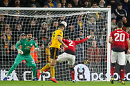 Wolverhampton Wanderers forward Raul Jimenez (9) heads at goal during the The FA Cup match between Wolverhampton Wanderers and Manchester United at Molineux, Wolverhampton, England on 16 March 2019.