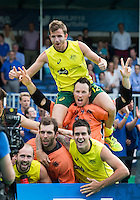 ANTWERP -   Australian Jacob Whetton , Tyler Lovell , Andrew Charter  , Blake Govers, and Matthew Swann celebrate the first place after  the final Australia vs Belgium (1-0). left  WSP COPYRIGHT KOEN SUYK