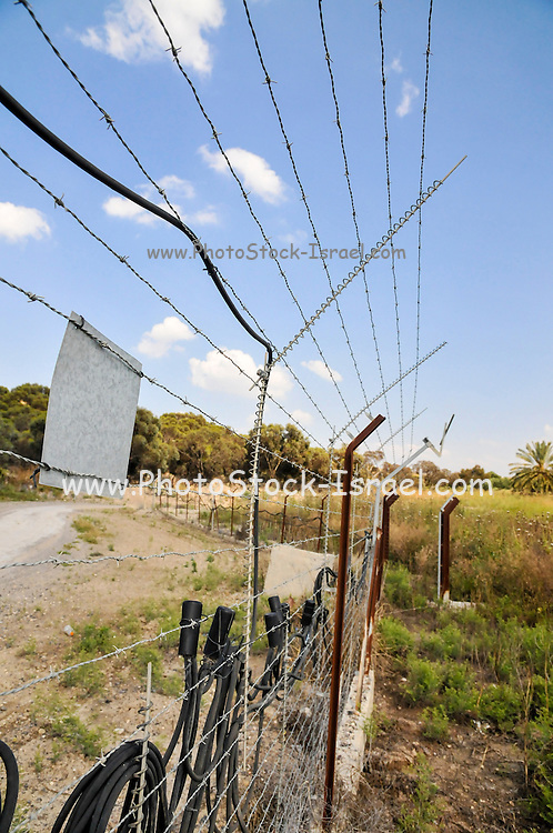 The Israeli Jordanian Border Photographed at Naharaim on the Jordan River Hitech touch activated security fence