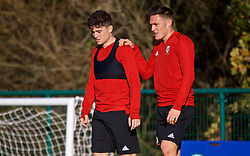 CARDIFF, WALES - Monday, November 12, 2018: Wales' Daniel James (L) and Connor Roberts during a training session at the Vale Resort ahead of the UEFA Nations League Group Stage League B Group 4 match between Wales and Denmark. (Pic by David Rawcliffe/Propaganda)