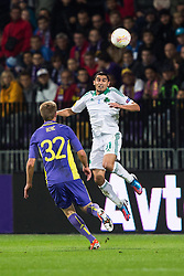 Nikos Spyropoulos of Panathinaikos and Robert Beric of NK Maribor during football match between NK Maribor and Panathinaikos Athens F.C. (GRE) in 1st Round of Group Stage of UEFA Europa league 2013, on September 20, 2012 in Stadium Ljudski vrt, Maribor, Slovenia. (Photo By Matic Klansek Velej / Sportida)