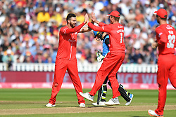 Lancashire Lightning's Jordan Clark celebrates taking the wicket of Worcestershire Rapid's Darly Mitchell lbw during the Vitality T20 Blast Semi Final match on Finals Day at Edgbaston, Birmingham.
