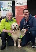 13/02/2018   Repro Free:  Frank Downes and Gallagher from the Irish Guide Dogs with Reverbeo founder Robert O'Shaughnessy at the Portershed who hosted a Pancake Tuesday Morning in aid of the Irish Guide Dogs . Photo: Andrew Downes