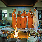 Four unmarried Kashmiri Pundit young men wear the sacred thread for the first time during their Janayu, the thread ceremony. Janayu can be performed even pre-adolescence but if it has not been performed earlier then it is conducted a few days before the wedding.