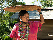 Portrait of  Kayaw ethnic minority woman carrying a basket on her head on 19th January 2016 in Kayah State, Myanmar. Wearing traditional costumes made from handwoven cotton, Kayaw women wear many necklaces made from shells, beads and brass coils and fashioned from silver. Distended earlobes are plugged with rings of silver and the ankles and knees encased with brass coils
