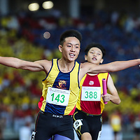 Mark Lee (#143) celebrates after anchoring Anglo-Chinese School (Independent) to win the C Division boys' 4x100m final. (Photo © Lim Yong Teck/Red Sports)