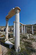Picture of the ruins of columns in the ruins of the The Church of the Sepulchre, Roman 1st century AD. Hierapolis archaeological site near Pamukkale in Turkey. .<br /> <br /> If you prefer to buy from our ALAMY PHOTO LIBRARY  Collection visit : https://www.alamy.com/portfolio/paul-williams-funkystock/pamukkale-hierapolis-turkey.html<br /> <br /> Visit our TURKEY PHOTO COLLECTIONS for more photos to download or buy as wall art prints https://funkystock.photoshelter.com/gallery-collection/3f-Pictures-of-Turkey-Turkey-Photos-Images-Fotos/C0000U.hJWkZxAbg
