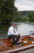 Henley on Thames, United Kingdom. 2016 Henley Masters' Regatta. Henley Reach. England. on Saturday  09/07/2016   [Mandatory Credit/ Peter SPURRIER/Intersport Images]<br /> <br /> Launch Driver. Rowing, Henley Reach, Henley Masters' Regatta.<br /> <br /> General View,  Henley Reach, venue, for the 2016 Henley Masters Regatta.