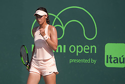 March 20, 2018 - Key Biscayne, FL, U.S. - Key Biscayne, FL - MARCH 20: Natalia Vikhlyantseva (RUS) competes during the qualifying round of the 2018 Miami Open on March 20, 2018, at Tennis Center at Crandon Park in Key Biscayne, FL. (Photo by Aaron Gilbert/Icon Sportswire) (Credit Image: © Aaron Gilbert/Icon SMI via ZUMA Press)