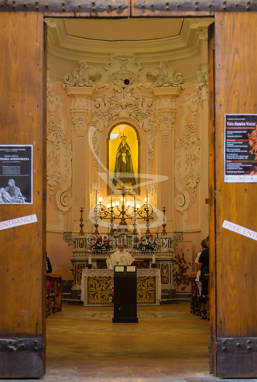 Sorrento, Italy, September 15 2017. Early morning mass is conducted in a church in Sorrento, Italy. © Paul Davey