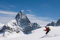Skiing the Stockji Glacier below the Matterhorn on the final day of the Haute Route ski traverse in Switzerland.