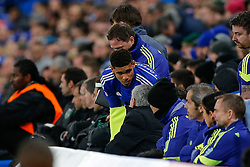 Ruben Loftus-Cheek of Chelsea, making his First Team debut, takes instructions from Chelsea Manager Jose Mourinho before being substituted on - Photo mandatory by-line: Rogan Thomson/JMP - 07966 386802 - 10/12/2014 - SPORT - FOOTBALL - London, England - Stamford Bridge - Sporting Clube de Portugal - UEFA Champions League Group G.