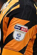 EFL shoulder badge on Hull City shirt during the EFL Sky Bet Championship match between Hull City and Preston North End at the KCOM Stadium, Kingston upon Hull, England on 26 September 2017. Photo by Ian Lyall.
