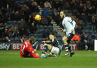 Preston North End's Stevie May fails to beat Brentford's Daniel Bentley<br /> <br /> Photographer Mick Walker/CameraSport<br /> <br /> The EFL Sky Bet Championship - Preston North End v Brentford - Saturday 11th February 2017 - Deepdale - Preston<br /> <br /> World Copyright © 2017 CameraSport. All rights reserved. 43 Linden Ave. Countesthorpe. Leicester. England. LE8 5PG - Tel: +44 (0) 116 277 4147 - admin@camerasport.com - www.camerasport.com