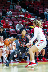 NORMAL, IL - November 20: Kayel Newland defends Myia Starks during a college women's basketball game between the ISU Redbirds and the Huskies of Northern Illinois November 20 2019 at Redbird Arena in Normal, IL. (Photo by Alan Look)