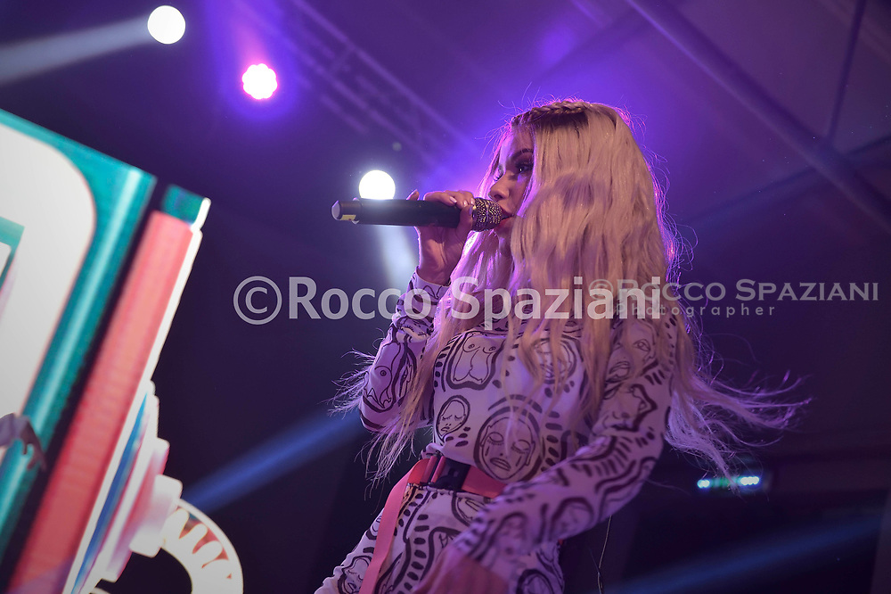 Baby K  perform on stage on March 29, 2019 in Rome, Italy.