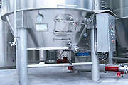 Mont Tauch Cave Cooperative co-operative In Tuchan. Fitou. Languedoc. Stainless steel tank with control panel and special equipment. France. Europe.