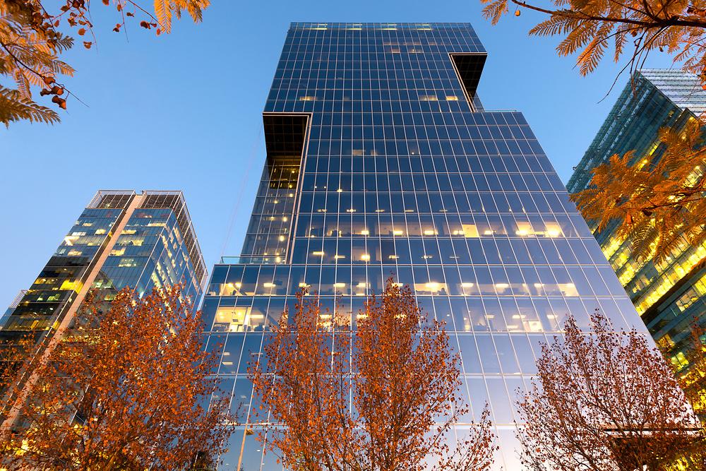 Office buildings at financial district known as Nueva Las Condes in Presidente Riesco avenue, Las Condes, Santiago de Chile