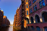 Canal on Bei Sankt Annen in Speicherstadt (Warehouse District), Hafen City (along the harbor), Hamburg, Germany