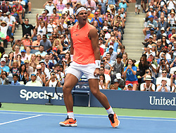 September 2, 2018 - Flushing Meadow, NY, U.S. - FLUSHING MEADOW, NY - SEPTEMBER 02:  Rafael Nadal (ESP) in action during his 4th round match in the Men's Singles Championships during the US Open  at the Billie Jean King Tennis Center in Flushing Meadow, NY. (Photo by Cynthia Lum/Icon Sportswire) (Credit Image: © Cynthia Lum/Icon SMI via ZUMA Press)