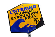 Tsunami evacuation area warning sign, Hawaii RIGHTS MANAGED LICENSE AVAILABLE FROM www.PhotoLibrary.com