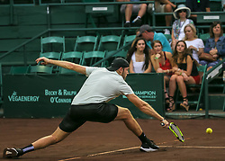 April 13, 2018 - Houston, TX, U.S. - HOUSTON, TX - APRIL 13:  Jack Sock of the United States stretches to hit the return in the match against Taylor Fritz of the United States during the Quarterfinal round of the Men's Clay Court Championship on April 13, 2018 at River Oaks Country Club in Houston, Texas.  (Photo by Leslie Plaza Johnson/Icon Sportswire) (Credit Image: © Leslie Plaza Johnson/Icon SMI via ZUMA Press)