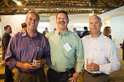 From left to right, Alvin Armer of NxStage Medical, Inc., Chet Douglass of Aavid Thermalloy, and Randy Prout of Netsoft Search pose for a photo during the Silicon Valley Business Journal's HHaaS Tech Mixer at ZERO1 in San Jose, California, on May 28, 2015. (Stan Olszewski/SOSKIphoto for the Silicon Valley Business Journal)