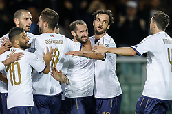 October 6, 2017 - Turin, Italy - Giorgio Chiellini (C) of Italy national team celebrates his goal with teammates during the 2018 FIFA World Cup Russia qualifier Group G football match between Italy and FYR Macedonia at Stadio Olimpico on October 6, 2017 in Turin, Italy. (Credit Image: © Mike Kireev/NurPhoto via ZUMA Press)