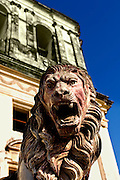 Roaring lion guards the front entrance to the Cathedral of Leon, in Leon, Nicaragua.