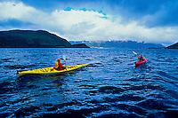 Sea kayaking on Bonne Bay, near Norris Point, Gros Morne National Park, west coast of Newfoundland, Canada