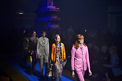 Model walks on the runway during the Gucci Fashion Show during Milan Fashion Week Spring Summer 2018 held in Milan, Italy on September 20, 2017. (Photo by Jonas Gustavsson/Sipa USA)