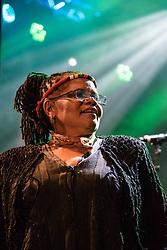 Vocals, Mango Groove. Cape Town Jazz Festival Free Community Concert, 29 March 2017. Greenmarket Square. Photo by Alec Smith/imagemundi.com