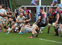 Rugby Union - 2020 / 2021 Gallagher Premiership - Round 18 - Harlequins vs Wasps - The Stoop<br /> <br /> Dan Robson of Wasps darts through to score his first half try<br /> <br /> <br /> Credit : COLORSPORT/ANDRTEW COWIE