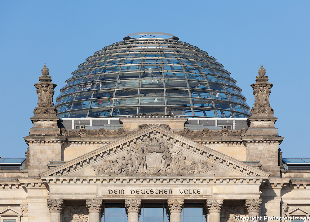 Reichstag Building, West facade and dome. Berlin, Germany. July 2013<br /> Architect,1894: Paul Wallot <br /> Renovating Architect, 1999: Norman Foster