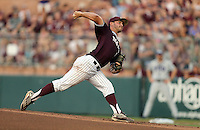 Texas A&M's Brigham Hill (15) pitches to home against TCU during the 1st inning of a NCAA college baseball super regional tournament game, Friday, June 10, 2016, in College Station, Texas. (AP Photo/Sam Craft)