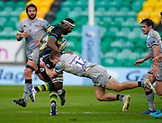 Sale Sharks centre Sam Hill tackles Northampton Saints Api Ratuniyarawa during a Gallagher Premiership Round 13 Rugby Union match, Saturday, Mar. 13, 2021, in Northampton, United Kingdom. (Steve Flynn/Image of Sport)