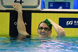 HANGZHOU, Dec. 16, 2018  Cameron van der Burgh of South Africa celebrates after winning Men's 50m Breaststorke Final at 14th FINA World Swimming Championships (25m) in Hangzhou, east China's Zhejiang Province, on Dec. 16, 2018. Cameron van der Burgh claimed the title with 25.41. (Credit Image: © Xinhua via ZUMA Wire)