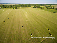 63801-11717 Hay bales in field-aerial Marion Co.  IL