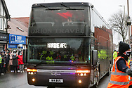 The Marine Coach arrives during the The FA Cup match between Marine and Tottenham Hotspur at Marine Travel Arena, Great Crosby, United Kingdom on 10 January 2021.