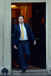 © Licensed to London News Pictures. 29/11/2012. Westminster, UK British Deputy Prime Minister Nick Clegg leaves Downing Street to make a statement to Parliament on the  Leveson report today 29th November 2012. Photo credit : Stephen Simpson/LNP