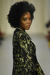 August 18, 2017 - Toronto, Ontario, Canada - A model showcasing  clothes of designer ''Kahonde Designs''  during the African Fashion Week in Toronto, Canada on 18 August 2017. (Credit Image: © Arindam Shivaani/NurPhoto via ZUMA Press)