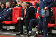 Mark Hughes, the Stoke city manager looks on before the game.Premier league match, Stoke City v West Ham Utd at the Bet365 Stadium in Stoke on Trent, Staffs on Saturday 29th April 2017.<br /> pic by Bradley Collyer, Andrew Orchard sports photography.
