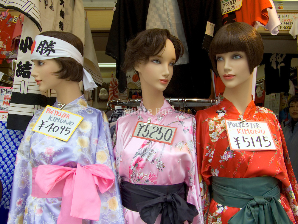 western mannequins in Japanese kimono at a souvenir shop Tokyo
