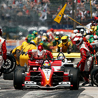 Justin Wilson completes a pit stop at Milwaukee 2006