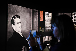 """© Licensed to London News Pictures. 23/05/2017. London, UK.   An image of Louis-François Cartier is seen at the press preview of """"Cartier in Motion"""", an exhibition on Cartier,  co-curated by celebrated architect Lord Norman Foster and Design Museum director Deyan Sudjic, at the Design Museum in London.  The exhibition runs from 25 May to 28 July 2017. Photo credit : Stephen Chung/LNP"""
