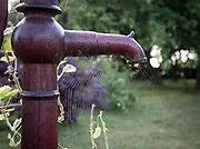 Spindelnät på gårdspump